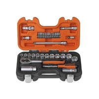 Bahco 34 Piece Socket Set    Outstanding value from a world famous brand.  34 Piece: 1/4 inch and 3/8 in square drive socket set with dynamic drive profile, made from chrome vanadium with a matt chrome-plated finish.  The plastic case is oil and temperature resistant polypropylene.  34 Piece 1/4 in and 3/8 in square drive socket set with dynamic drive profile, made from chrome vanadium with a matt chrome-plated finish.