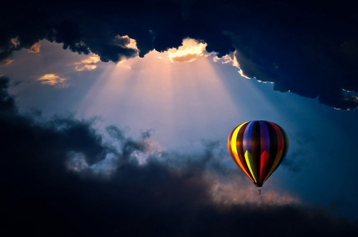 Hot Air Balloon over Montana with a Supercell Thuderstorm cloud - Google Search