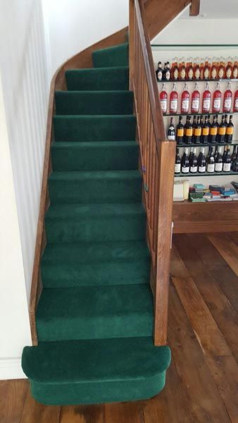 Client: Private Residence In North London  Brief: To supply & install green carpet to stairs