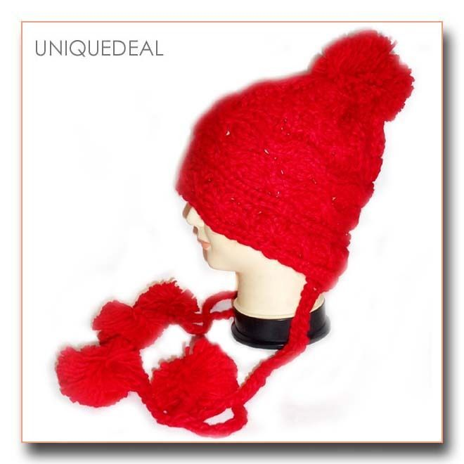 Women Winter Beanie Hand Knitted Ski Hat Ball Cap High Quality-A207/ Red