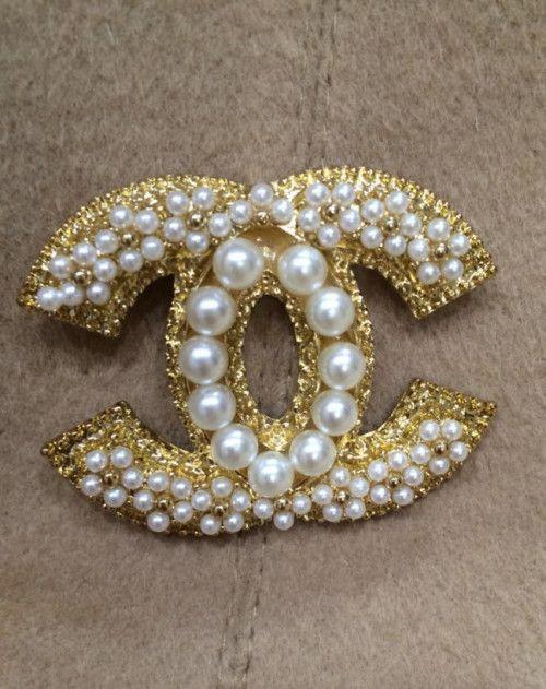 Fashion Pearl Brand CC letter Brooch,Custom Made Brooch