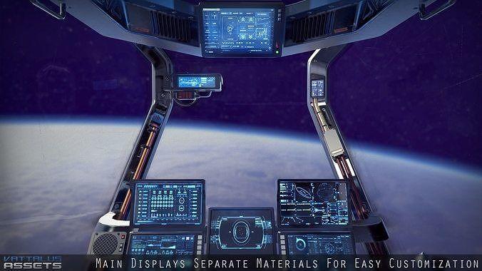 Sci Fi Fighter Cockpit 4 3d Model In 2020 Model Low Poly 3d