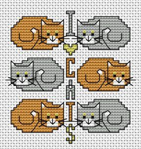 Adorable! I Love Cats free cross stitch pattern from Alita Designs
