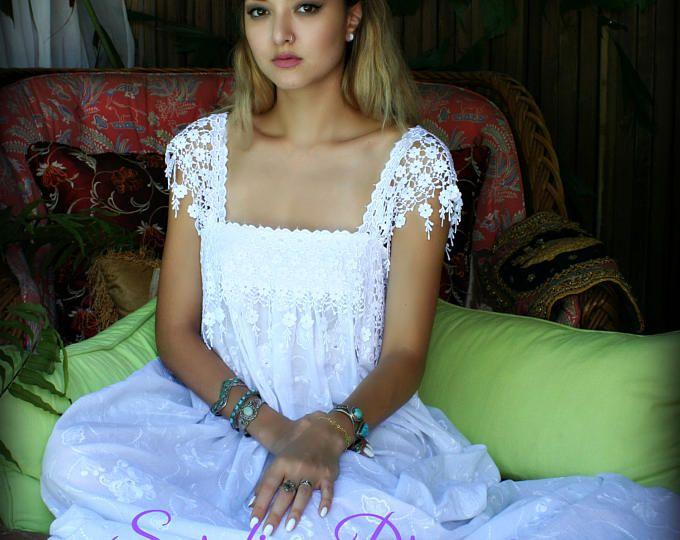 Camisón de algodón 100% bordado algodón blanco ropa interior ropa de dormir blanco camisón nupcial boda lencería camisón luna de miel Vestido de boda