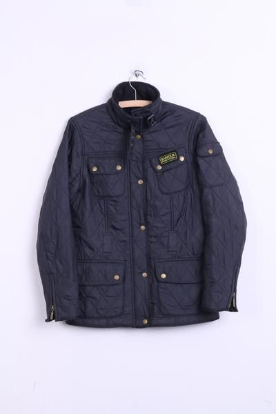 Barbour International Womens 10 S Quilted Jacket Black Fleece Inside - RetrospectClothes