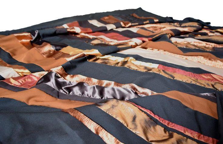 Bruin-goud streep foulard van AtelierMD.nl