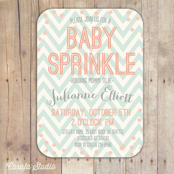 Peach and Mint Baby Sprinkle Baby Shower Invitation Bridal Shower Printable or Printed Cards on Etsy, $16.00