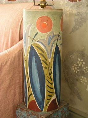 Lamp base, circa 1935, wood, decorated by Duncan Grant, maker unknown, 51 cm x 20.5 cm x 20.5 cm.
