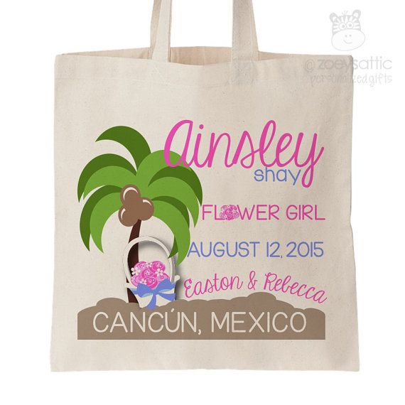 Flower girl personalized tote bag - choose value or heavyweight tote