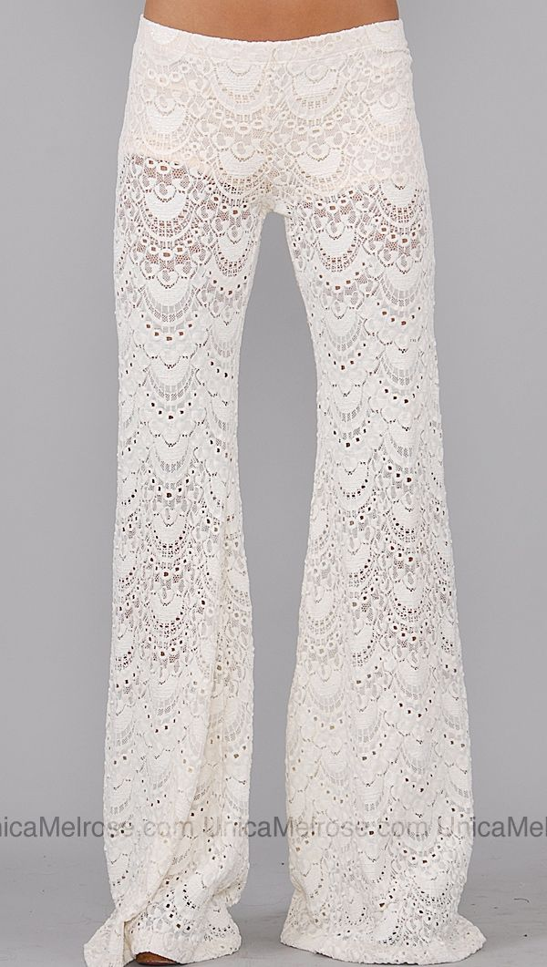 These would be cute for the wedding day!  Nightcap Ivory Lace Pants