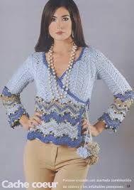 Resultado de imagen para blusas tejidas en crochet azul