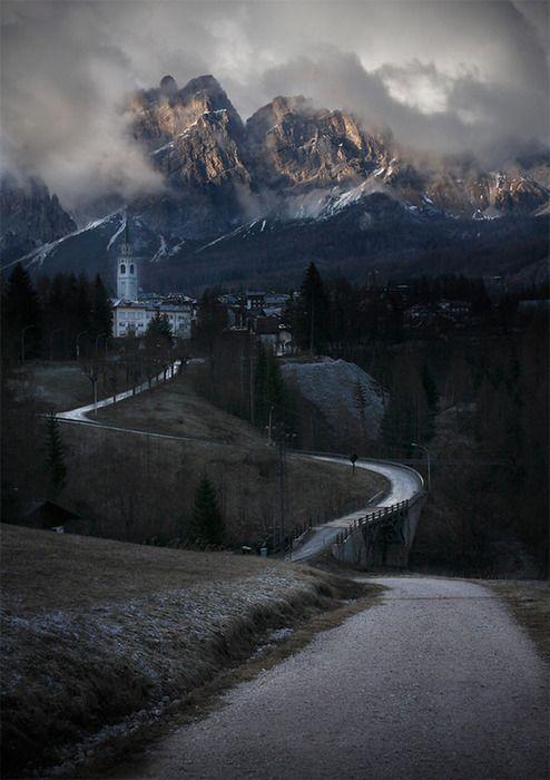 Mountain Village. The Dolomites. Italy.