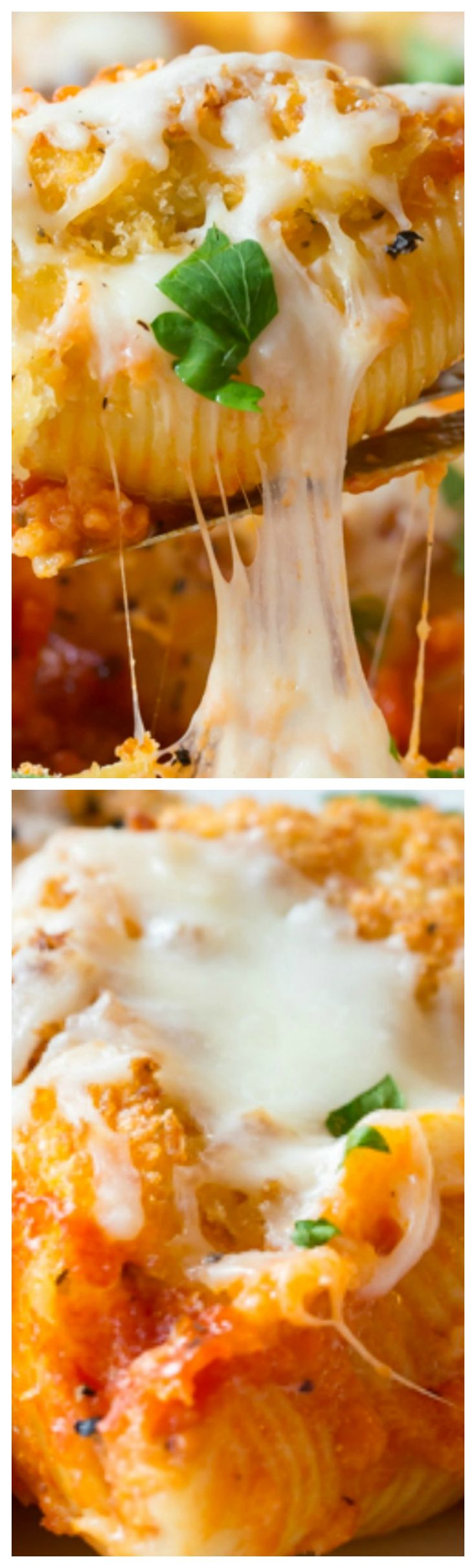 Chicken Parmesan Stuffed Shells ~ A combination of two Italian-American favorites, Chicken Parmesan and classic Stuffed Shells... One glorious meal.