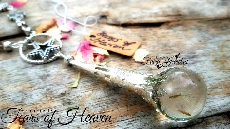 Collana lacrime paradiso semi dandelion resina argento gioielli botanici stelle, by Evangela Fairy Jewelry, 18,00 € su misshobby.com