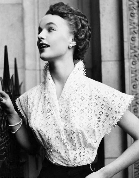 Model is wearing lovely lace blouse designed by Veronica Scott, photo by Brian Kirley, 1953
