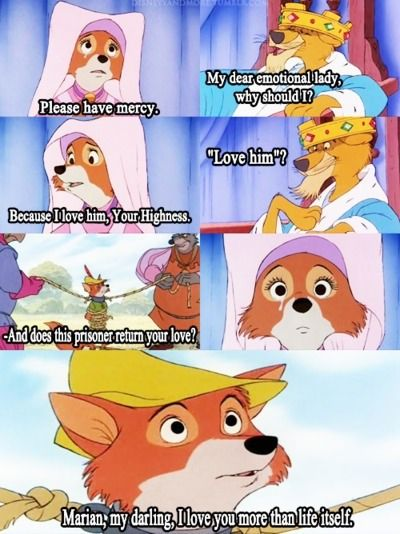 Disney Robin Hood with the foxes!! I used to watch this all the time, always thinking this scene was oh-so-romantic. So romantic!