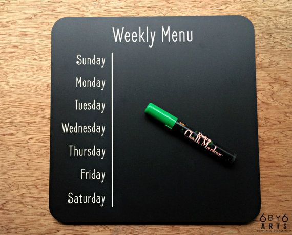 Make life a little easier a with readymade weekly menu board!  Laser engraved and painted days of the week ready for you to list your delectable meals for each day. Or just scribble in leftovers each day of the week!  This is the a basic Weekly Menu version. It comes with the words Weekly Menu engraved at the top.   ***Please contact us directly about customizing this with your familys name or for whatever fun name youd like to have title this for an additional fee. ***   Currently only…