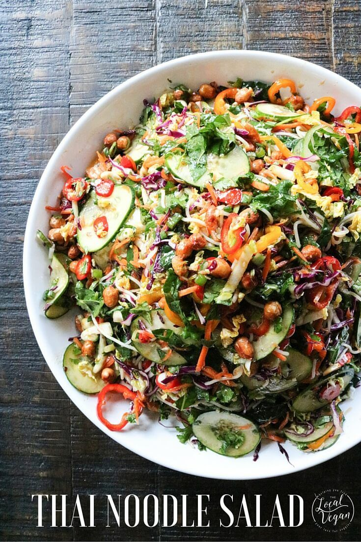 Thai Noodle Salad  - Healthy #Vegan Dinner / Lunch Recipes - #plantbased #cleaneating