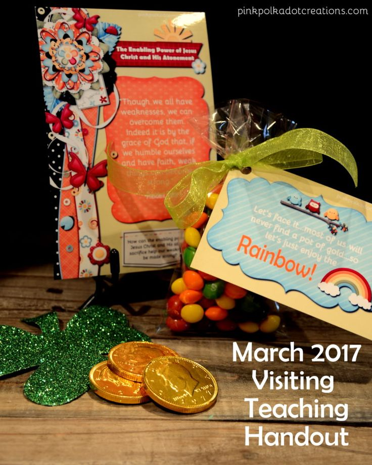 March 2017 visiting teaching handout.  Free printables!  Message card plus rainbow tag!