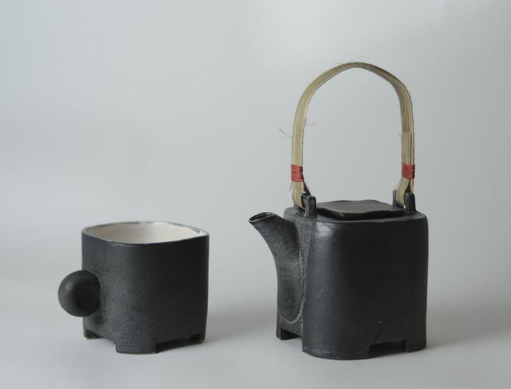 Teacup and teapot, mat Black glaze 2014. Sold