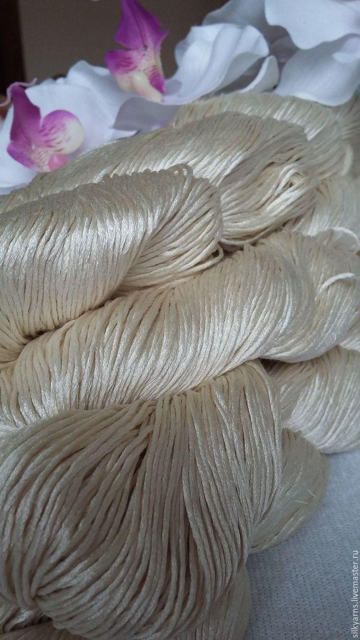 Купить Китайский шелк 400м/100гр - белый, шелк, шелковая пряжа, пряжа ручного крашения