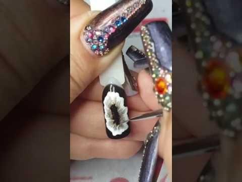 Юлия Билей .Весенние цветы на ногтях, объемный тюльпан.Схема нарцисса и тюльпана!!! - YouTube