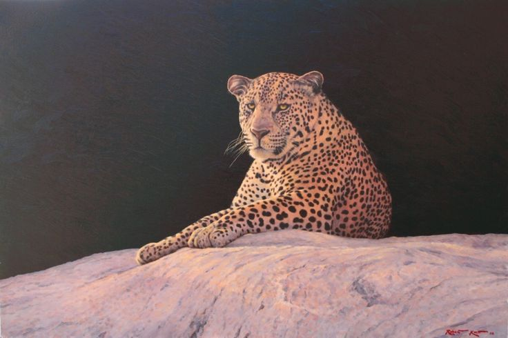 Leopard sentry  Oil on canvas  by Robert Koch