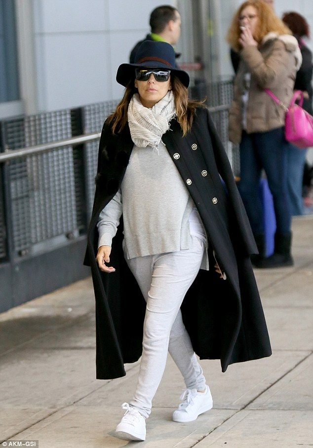 Fashion upgrade! Eva Longoriacut an extremely casual yet stylish figure as she touched down into New York City onWednesday
