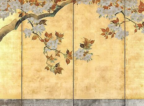 Detail. Sakai Hoitsu. Cherry Blossoms. One of a pair of Japanese folding screens. About 1808-10.
