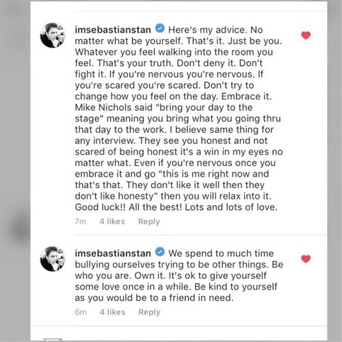 Wise words from a genuinely kind human being. Sebastian Stan.