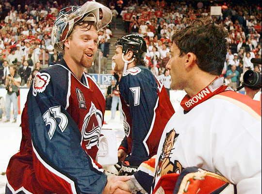 Patrick Roy & John Vanbiesbrouck,....and Paddy looking and being RED HOT that series.