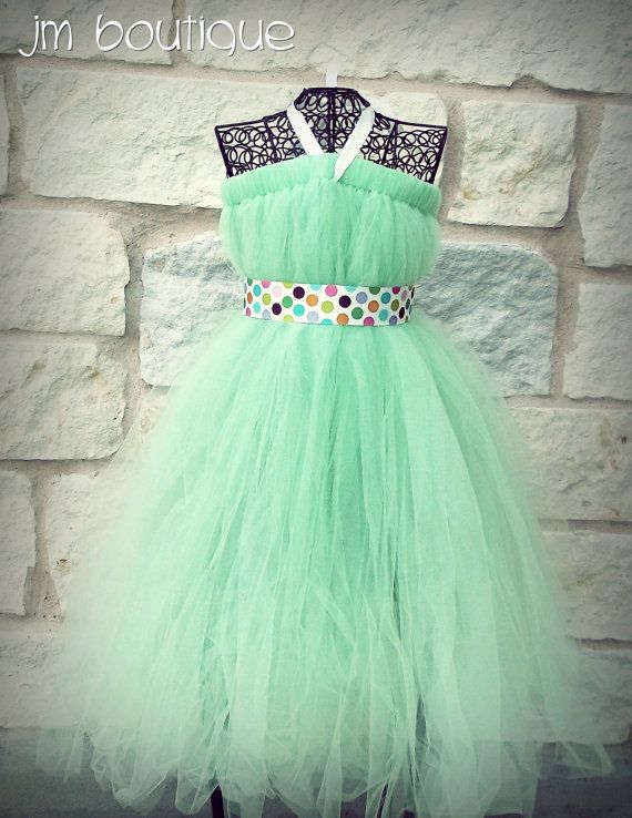 How did my 11 year old discover Polyvore before me?  She found this dress on their, which she wants desperately.      Mint Green Tutu Dress for Birthday Wedding Pageant by JMBoutique1, $44.99