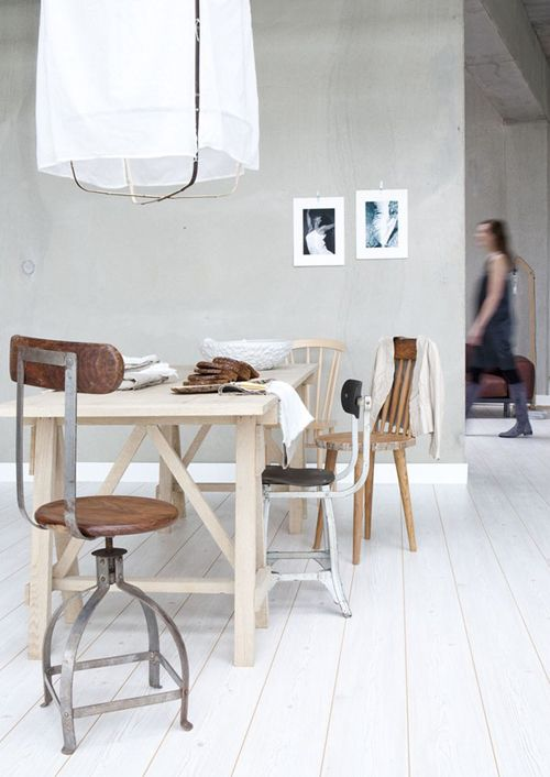 white and mismatched: 15 Amazing Rooms With White Wooden Floors | Shelterness