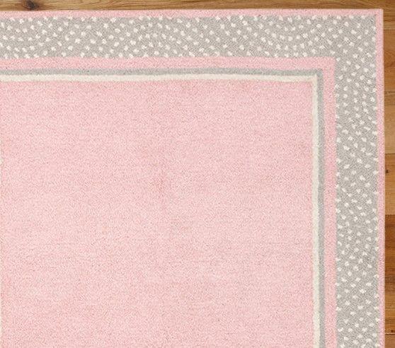 Polka Dot Border Rug 3x5 Pink Gray Pottery Barn Kids