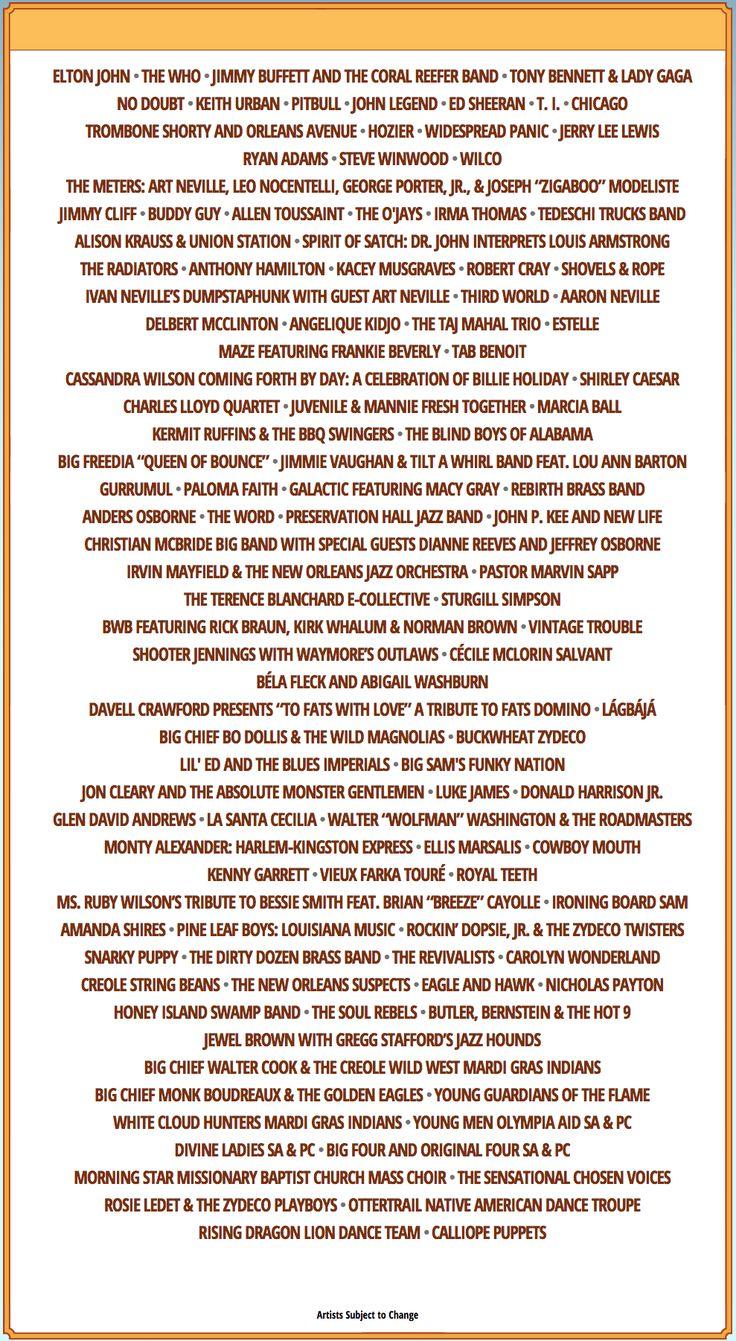 New Orleans Jazz Fest 2015 Lineup: Ed Sheeran, Lady Gaga & More