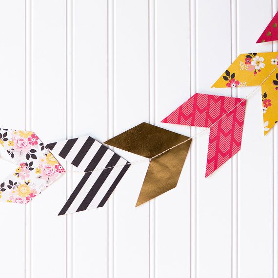 Arrows, Tribal Party, Boho Chic Party, Pow Wow, Paper Arrow Garland, Chevron Arrows, Party Banner, Bow and Arrow, Aztec Tribal Indian, Pink