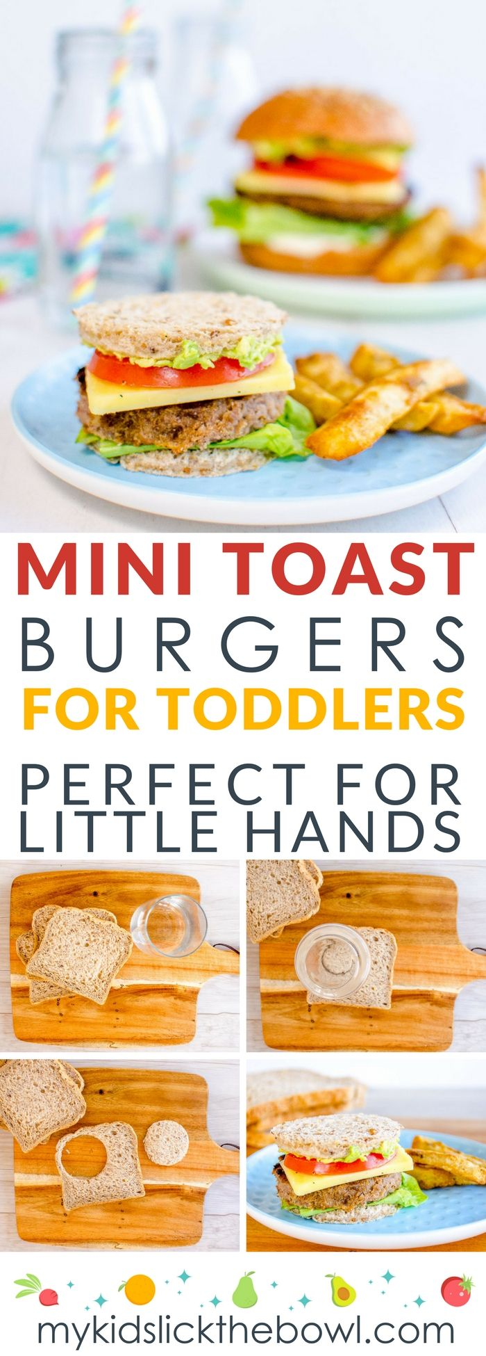 Mini toast burgers for toddlers a kid friendly dinner perfect for picky eaters and baby led weaning, plus 8 great kid approved fillings #kidfriendlydinners #pickyeaters #burgers #babyledweaning