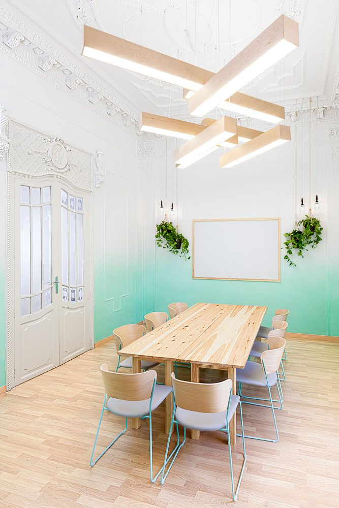 conference room idea, wooden tables. love the gradient walls.