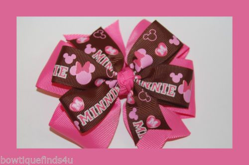 MINNIE MOUSE HAIR BOW PINK BROWN.. Alligator Clips
