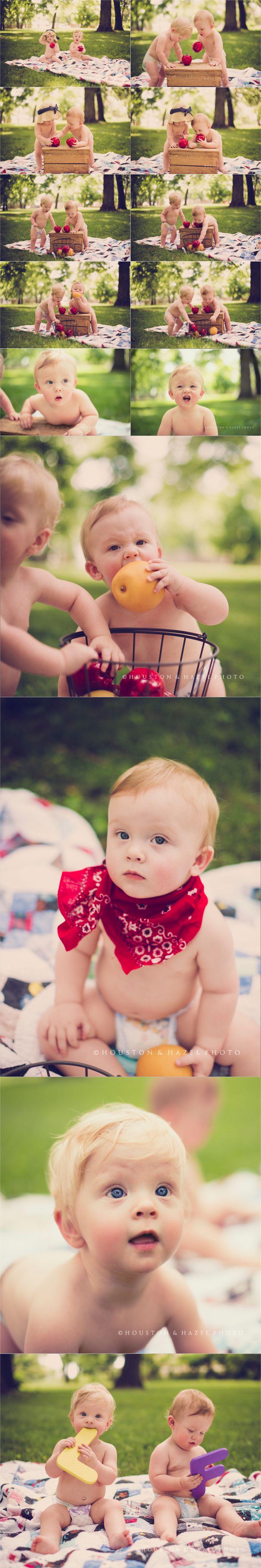 twins one year photoshoot