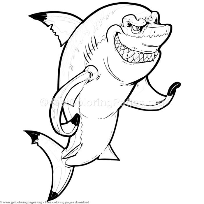 Mean Cartoon Shark Coloring Pages Free Instant Download Coloring