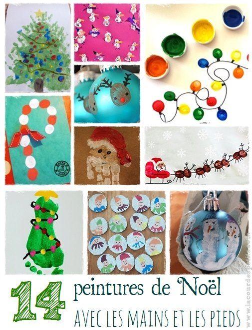 14 peintures de Noël à base d'empreintes  La cour des petits