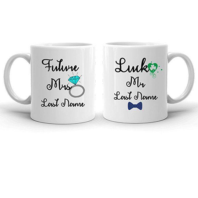 Future Mrs Mug, Lucky Mr Mug, Mr Mrs Coffee Mug Set, Personalized Name Couple Mugs, Engagement Gift, Bride and groom mug, Wife mug, Bow Tie Husband mug, Bridal Shower, Wedding Gift Shamrock Mug