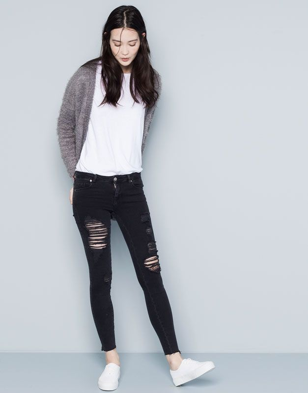 Pull&Bear - woman - jeans - ripped skinny jeans - black - 05682312-V2015
