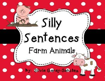 Students choose words from a word bank to create their original silly sentence about farm animals.  I have included a page for:  chicken, cow, horse, pig, frog, bunny, and barn owl. There is also a blank page for students to draw and write their own.