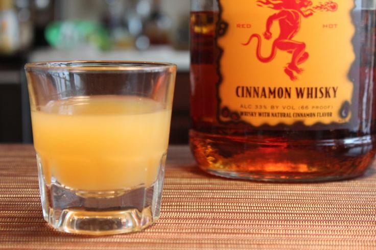 Applesauce shot with #Fireball and Pineapple juice. Unexplainably tastes exactly like applesauce!