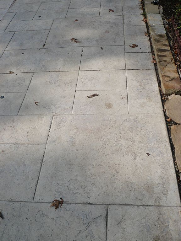 stamped concrete patio -- I like the clean lines of this pattern