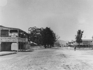 Abbott Street Cairns, ca. 1910. John Dan's tailoring business premises is on the left hand side of the street and was established in 1896 / John Oxley Library, State Library of Queensland, Neg: 203295 http://hdl.handle.net/10462/deriv/199372 | thefashionarchives.org