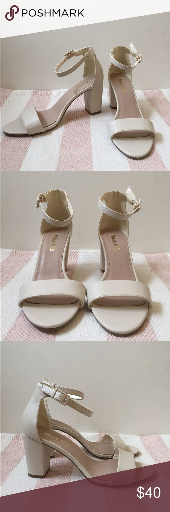 """Miss KG Paige White Heeled Sandals Cute off white 3"""" heels with skinny ankle strap from ASOS. Never worn. Vegan leather. Miss KG Shoes Heels"""