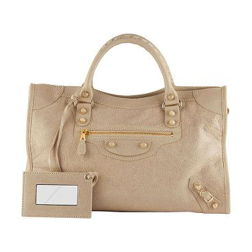 "Giant 12 golden city bag by Balenciaga. Beige soft lambskin with golden hardware, including stud and buckle detail. Tote handles with 4"" ..."